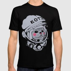 Spaceman cat LARGE Black Mens Fitted Tee
