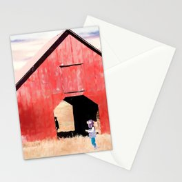 Boy and a Barn #digitalpainting Stationery Cards