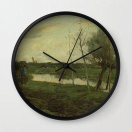 Landschap met een vaart, Geo Poggenbeek, 1873 - 1903 Wall Clock