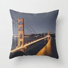 Golden Gate Glowing Throw Pillow