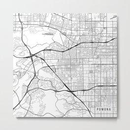 Pomona Map, USA - Black and White Metal Print