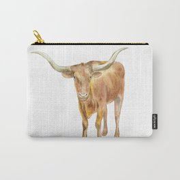 Texas Longhorn Steer Watercolor Carry-All Pouch