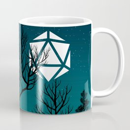 Starry Night Forest D20 Dice Moon Coffee Mug