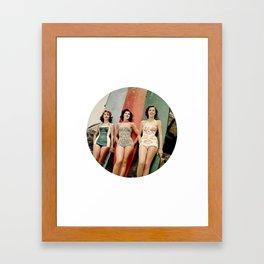 3 Girls on Surfboards Framed Art Print