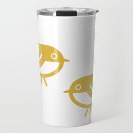 Pair Bonding. Cute Minimalist Bird Couple in Mustard Yellow on White Travel Mug