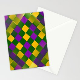 Harlequin Mardi Gras pattern Stationery Cards