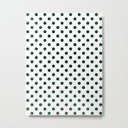 Small Polka Dots - Deep Green on White Metal Print