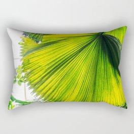 Bright Green Tropical Garden Leaf Rectangular Pillow