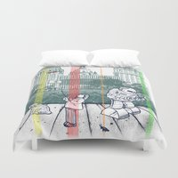 kurt rahn Duvet Covers featuring God Bless You, Kurt Vonnegut! by Robbie Lee
