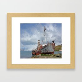 Whaling Ship with Gun Framed Art Print