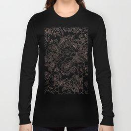 Pink coral tan black floral illustration pattern Long Sleeve T-shirt