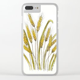 Golden wheat painting Clear iPhone Case