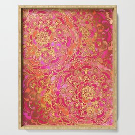Hot Pink and Gold Baroque Floral Pattern Serving Tray
