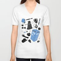 doctor V-neck T-shirts featuring Artifacts: Doctor Who by Josh Ln