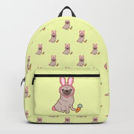 Pug dog in a rabbit costume pattern Backpack