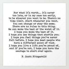 Life quote, For what it's worth, F. Scott Fitzgerald Quote Kunstdrucke