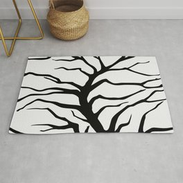 black silhouette of the willow tree without leaves Rug