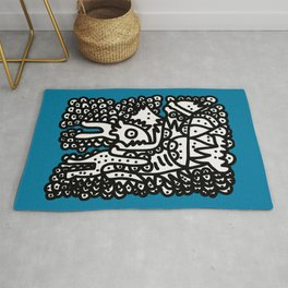 Black and White  Graffiti Cool Monsters on Blue background Rug