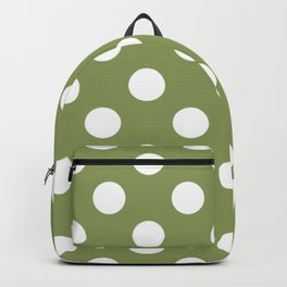Moss green - green - White Polka Dots - Pois Pattern Backpack
