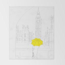 Yellow Umbrella Girl in London Throw Blanket