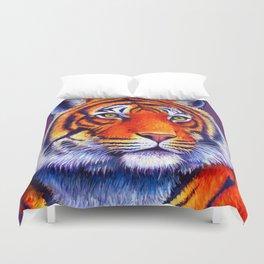 Colorful Bengal Tiger Portrait Duvet Cover