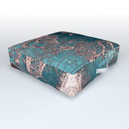 Antique World Map Pink Quartz Teal Blue by Nature Magick Outdoor Floor Cushion