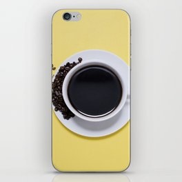 Black Cup of Coffee with Coffee Beans on Yellow iPhone Skin