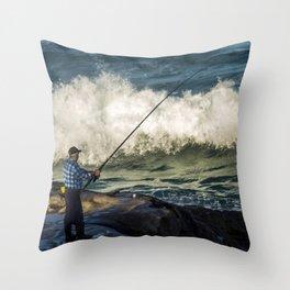 Fisherman at Tamarama Beach in Sydney, Australia Throw Pillow