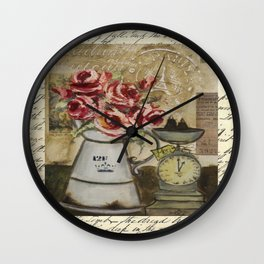 flowers & scale Wall Clock