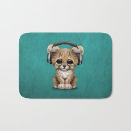 Cute Cheetah Cub Dj Wearing Headphones on Blue Bath Mat