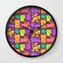 Colorful doggos Wall Clock