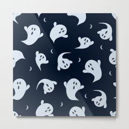 October Halloween halloween ghost blue Metal Print