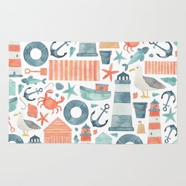 Nautical Watercolour Pattern! Rug
