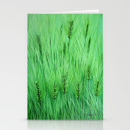 Green wheat Stationery Cards