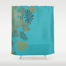 Teals & Golds Shower Curtain
