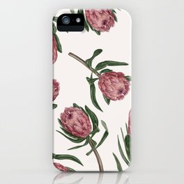 Pink protea pattern iPhone Case