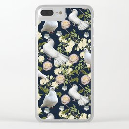 White Doves and Roses Clear iPhone Case