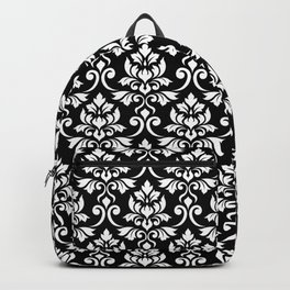 Feuille Damask Pattern White on Black Backpack