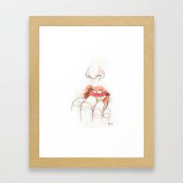 chew lips Framed Art Print