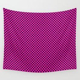 Shocking Pink and Black Polka Dots Wall Tapestry