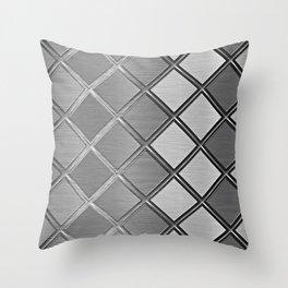 Silver Metallic Geometric Squares Pattern Throw Pillow