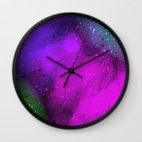 bubbles Wall Clocks featuring Bubbles by Abstract Designs