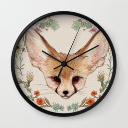 Fennec Fox Cub in Desert Wreath Wall Clock