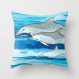 Noah's Ark - Pantropical spotted dolphin Throw Pillow