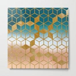 Golden Cubes Metal Print