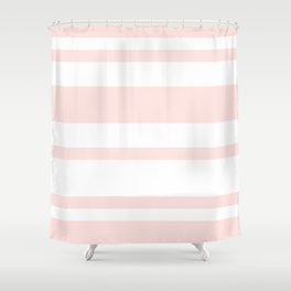 Mixed Horizontal Stripes - White and Pastel Pink Shower Curtain