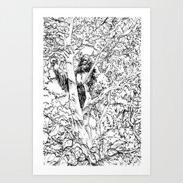 Sasquatch picking apples Art Print