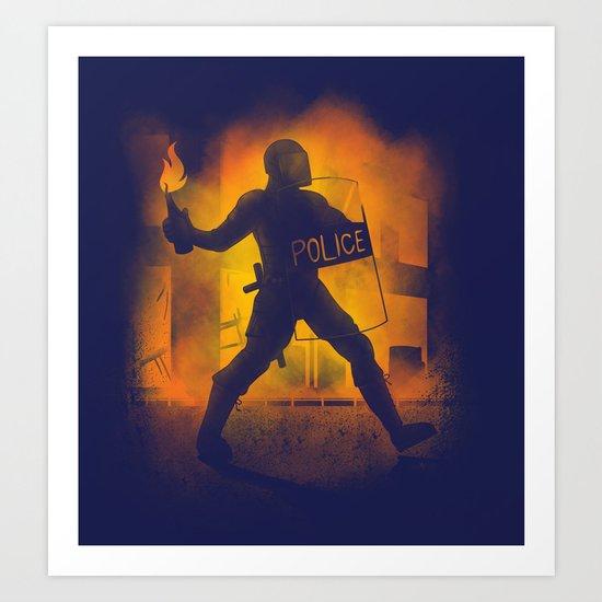 Riot Cop Art Print