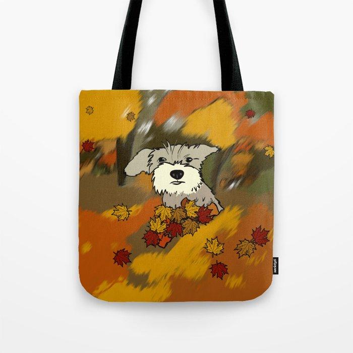 Schnauzer In Fall Leaves Tote Bag
