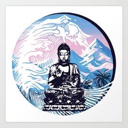 Buddha Tropical Mountain Wave Art Print